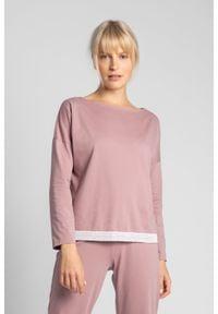 MOE - Bluzka od Piżamy Wykończona Koronką - Wrzosowa. Kolor: fioletowy. Materiał: koronka. Wzór: koronka