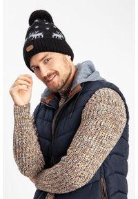 Zimowa czapka męska PaMaMi - Bordowy. Kolor: czerwony. Materiał: poliamid, akryl. Sezon: zima. Styl: sportowy