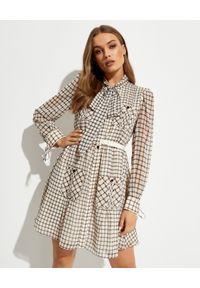SELF PORTRAIT - Sukienka mini z szyfonu. Typ kołnierza: kokarda. Kolor: beżowy. Materiał: szyfon. Długość: mini