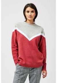 Sweter MOODO z długim rękawem, do kostek, w geometryczne wzory, z okrągłym kołnierzem