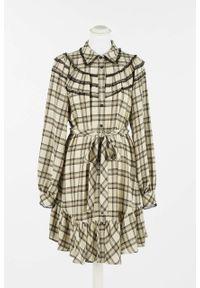 TwinSet - Sukienka w kratkę Twinset. Kolor: beżowy. Materiał: wiskoza, wełna. Długość rękawa: długi rękaw. Wzór: kratka
