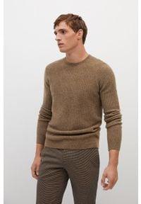 Brązowy sweter Mango Man na co dzień, długi