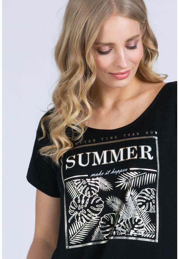 Czarny t-shirt Monnari na co dzień, casualowy, krótki