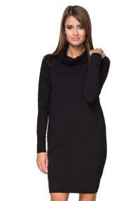 Czarna sukienka dresowa Tessita z golfem, prosta