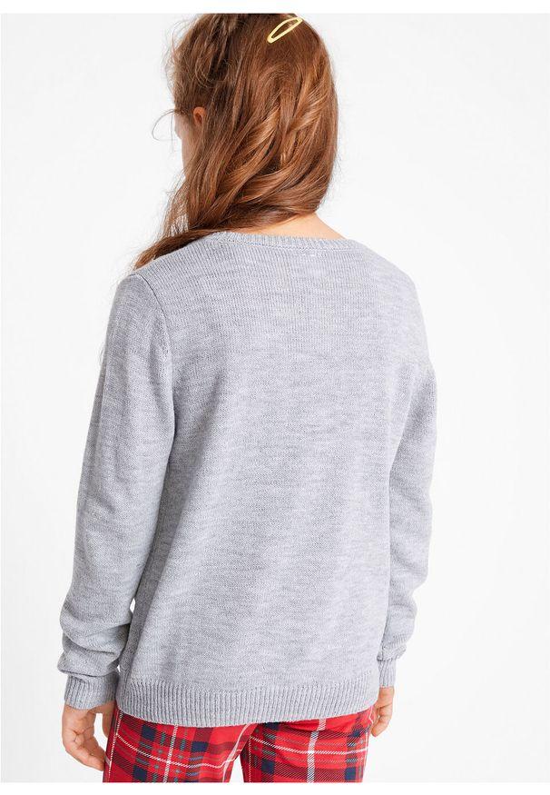 Szary sweter bonprix wizytowy, melanż