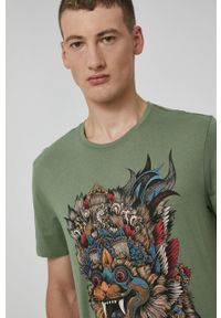 medicine - Medicine - T-shirt bawełniany Barong Mask. Kolor: zielony. Materiał: bawełna. Wzór: nadruk