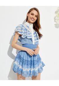 LOVE SHACK FANCY - Niebieska sukienka mini Clay. Kolor: niebieski. Materiał: koronka, bawełna. Wzór: ażurowy, koronka. Typ sukienki: rozkloszowane. Długość: mini