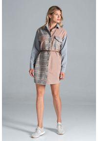 Figl - Koszulowa Sukienka z Kieszeniami - Szaro - Beżowy - Wzór 128. Kolor: beżowy, wielokolorowy, szary. Materiał: bawełna, poliester. Typ sukienki: koszulowe