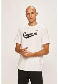 Biały t-shirt Converse z okrągłym kołnierzem, z nadrukiem, casualowy