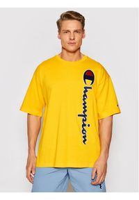 Champion T-Shirt Vertical Script Logo 215942 Żółty Custom Fit. Kolor: żółty