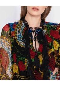 Nissa - NISSA - Wzorzysta mini sukienka z jedwabiu. Kolor: czarny. Materiał: jedwab. Długość rękawa: długi rękaw. Wzór: aplikacja, koronka. Styl: boho. Długość: mini
