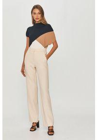 Kremowe spodnie materiałowe Liviana Conti casualowe, gładkie