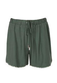 TOP SECRET - Szorty z wiązaniem i dekoracyjną taśmą. Kolor: zielony. Materiał: tkanina. Długość: krótkie