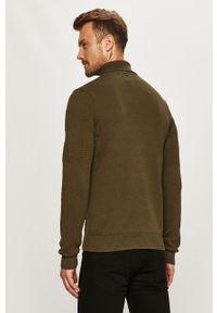 Oliwkowy sweter PRODUKT by Jack & Jones długi, z golfem