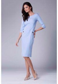 Nommo - Błękitna Stylowa Sukienka Ołówkowa z Ozdobnymi Guzikami. Kolor: niebieski. Materiał: wiskoza, poliester. Typ sukienki: ołówkowe. Styl: elegancki