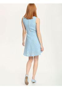 Niebieska sukienka TROLL wizytowa, na ramiączkach, na wesele
