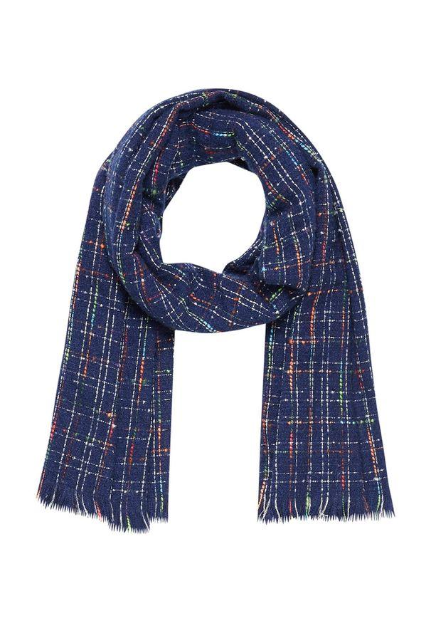 Niebieski szalik MOODO w kolorowe wzory