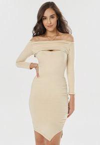 Born2be - Jasnobeżowa Sukienka Diomala. Okazja: na imprezę. Kolor: beżowy. Typ sukienki: asymetryczne, dopasowane. Długość: midi