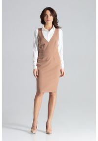Lenitif - Ołówkowa sukienka midi bez rękawów sarafan brązowa. Okazja: na spotkanie biznesowe. Kolor: brązowy. Długość rękawa: bez rękawów. Typ sukienki: ołówkowe. Styl: biznesowy, elegancki. Długość: midi