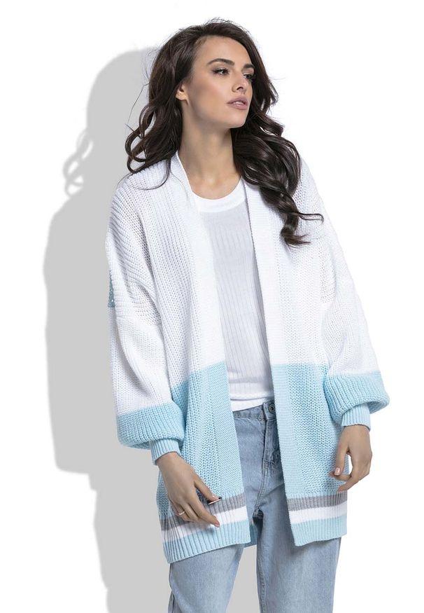 Niebieski sweter Fobya w kolorowe wzory