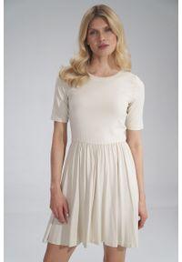 e-margeritka - Sukienka wiskozowa na lato rozkloszowana ecru - xl. Materiał: wiskoza. Sezon: lato. Typ sukienki: rozkloszowane