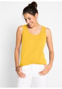 Długi top bawełniany (5 sztuk) bonprix żółty kanarkowy + kremowy miętowy + morelowy + czarny + biały. Kolor: żółty. Materiał: bawełna. Długość: długie #5