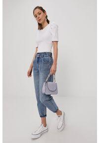 Pieces - T-shirt. Kolor: biały. Materiał: dzianina