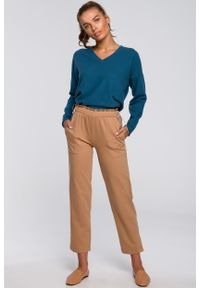 MOE - Dzianinowe Spodnie Typu Joggers- cappuccino. Materiał: dzianina