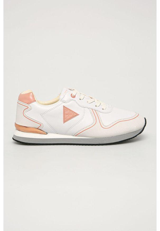 Różowe buty sportowe Guess Jeans na sznurówki, z cholewką