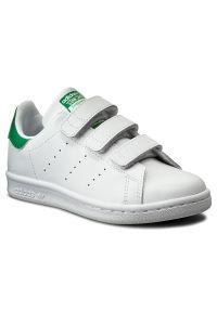 Białe półbuty Adidas z cholewką, na rzepy, w paski