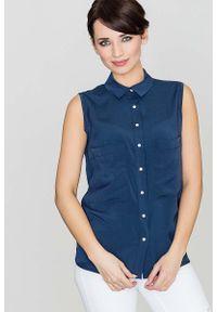 Niebieska bluzka Katrus z dekoltem na plecach
