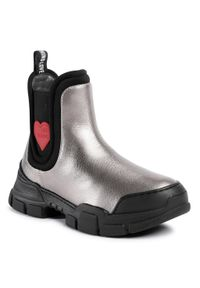 Love Moschino - Sztyblety LOVE MOSCHINO - JA15614G0BJC0907 Acciaio. Kolor: szary. Materiał: materiał, skóra ekologiczna