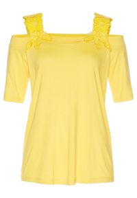 Shirt bonprix kremowy żółty. Kolor: żółty. Wzór: haft
