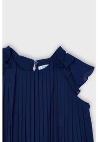 Niebieska sukienka Mayoral mini, rozkloszowana, z krótkim rękawem