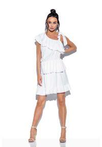 Lemoniade - Biała Zwiewna Sukienka Wiązana na Jedno Ramię. Kolor: biały. Materiał: wiskoza, elastan