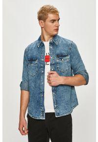 Niebieska koszula Calvin Klein Jeans z klasycznym kołnierzykiem, na co dzień