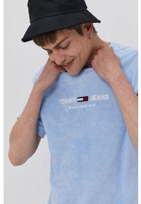 Niebieski t-shirt Tommy Jeans z aplikacjami, casualowy