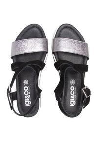 Czarne sandały Igi & Co z aplikacjami, na co dzień, casualowe