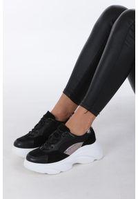 Casu - Czarne buty sportowe sneakersy sznurowane casu. Kolor: czarny, wielokolorowy. Materiał: skóra ekologiczna, materiał. Szerokość cholewki: normalna