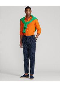 Ralph Lauren - RALPH LAUREN - Pomarańczowa koszula z lnu Slim Fit. Typ kołnierza: button down, polo. Kolor: pomarańczowy. Materiał: len. Długość rękawa: długi rękaw. Długość: długie. Wzór: haft #3