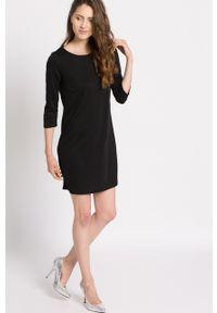 Czarna sukienka Vila mini, prosta, z okrągłym kołnierzem, casualowa