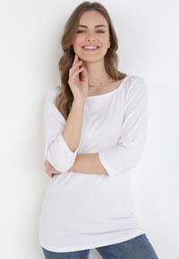 Born2be - Biała Bluzka Rhethessei. Typ kołnierza: dekolt kwadratowy. Kolor: biały. Materiał: jeans, dzianina. Wzór: gładki