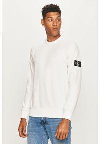 Biała bluza nierozpinana Calvin Klein Jeans z okrągłym kołnierzem, casualowa
