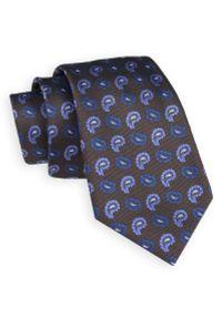 Brązowy Elegancki Krawat -Angelo di Monti- 7 cm, Męski, w Niebiesko-Granatowy Wzór Paisley, Łezki. Kolor: niebieski, beżowy, brązowy, wielokolorowy. Wzór: paisley. Styl: elegancki