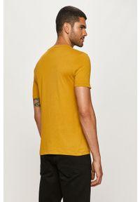 Żółty t-shirt G-Star RAW z okrągłym kołnierzem