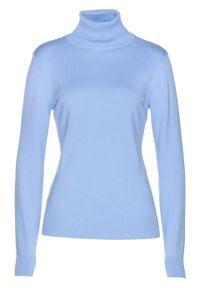 Sweter z golfem bonprix perłowy niebieski. Typ kołnierza: golf. Kolor: niebieski