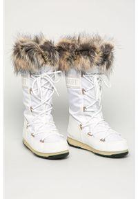 Białe śniegowce Moon Boot z cholewką, na średnim obcasie