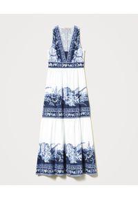 Biała sukienka TwinSet na spacer, z nadrukiem, na lato, maxi