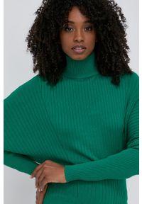 TwinSet - Twinset - Sweter. Typ kołnierza: golf. Kolor: zielony. Materiał: dzianina