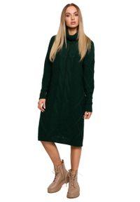 MOE - Swetrowa Sukienka z Golfem w Warkocze - Zielona. Typ kołnierza: golf. Kolor: zielony. Materiał: poliamid, akryl
